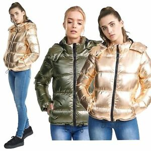 56cdea48c Details about Ladies Pewter Metallic Puffer Padded Bomber Jacket Quilted  Hooded Thunder Coat