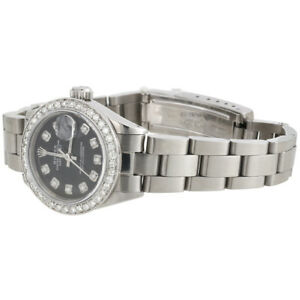 Ladies-Stainless-Steel-Diamond-Watch-Rolex-6917-Datejust-Oyster-Black-Dial-1-CT