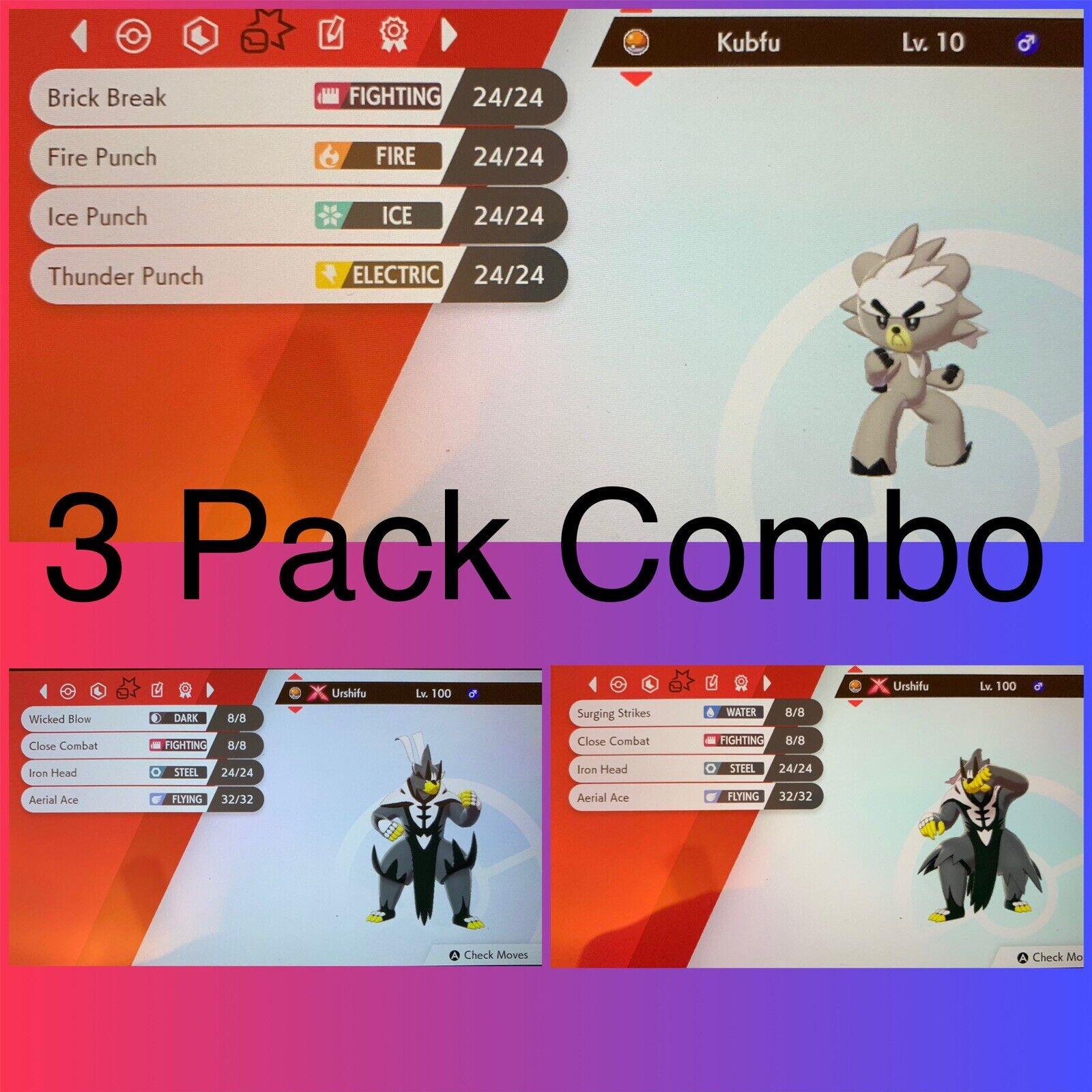 Kubfu Urshifu 3x 6IV Battle Ready Legal DLC Isle Of Armor Pokemon Shield 1