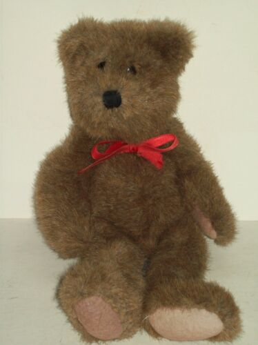 """Vintage"" 198595 Boyd's Bear Missing Tag 12"" Brown Handmade Plush Red Bow"