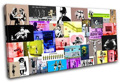 Montage  Banksy Hi Res SINGLE CANVAS WALL ART Picture Print VA