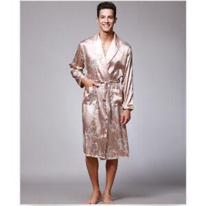 Men s Premium Satin Robe Kimono Dragon Print Shawl Collar Bathrobe ... 91b986b50