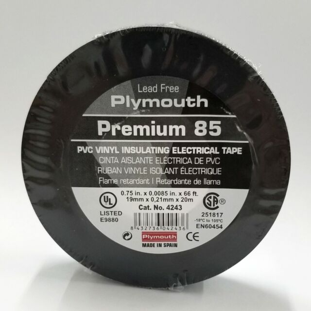 LOT OF 2 Plymouth Premium 85 Vinyl Electrical Tape 0.75in x 0.0085in x 66ft