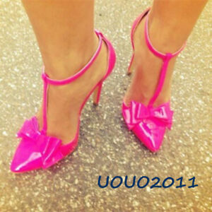 e7d3cf15f Women Stiletto T-Strap Bowknot Pointy Toe Sexy High Heel Cut Out ...