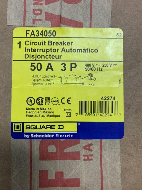 50 amp 480 vac // 250 vdc Square D Circuit Breaker FA34050 3 pole