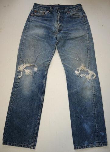 Vtg 90s USA Worn Distressed Levi's 501 Jeans 31x3… - image 1