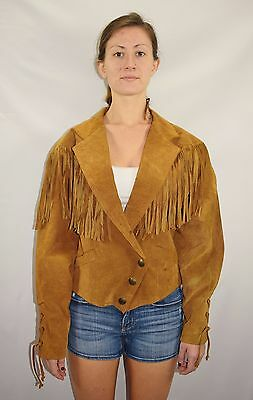vtg 60s western cowgirl tan suede leather snap button womens collared shirt jacket size M