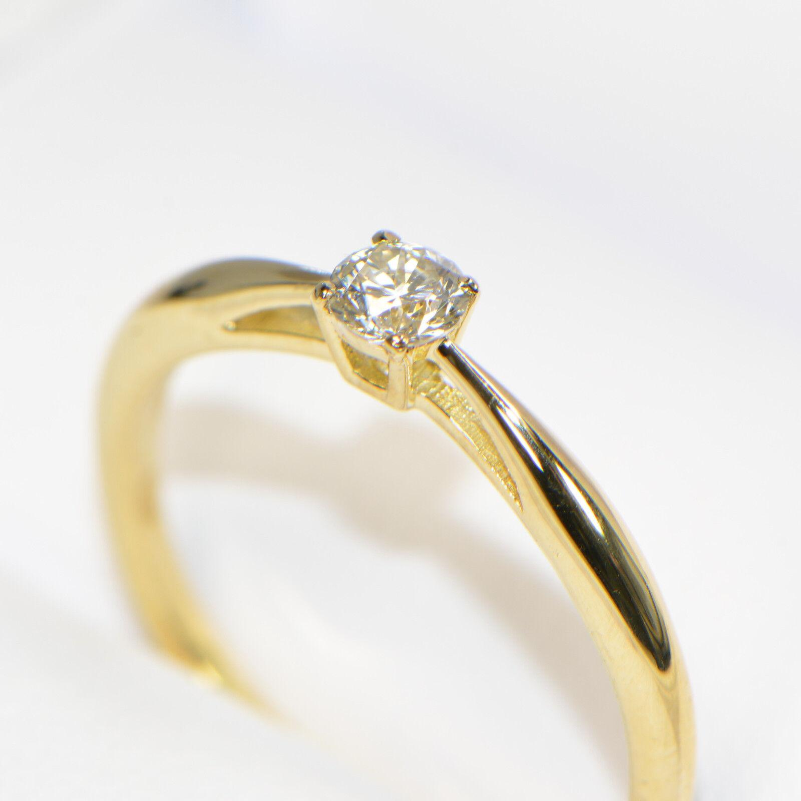 Diamantring 0,19 ct in yellowgold (18K) Solitär Verlobung Brillant 4 Krappen