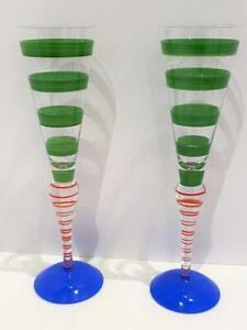 Orrefors Green Stripe Anne Nilsson Set 2 Clown Champagne Flute Signed Glass Vtg