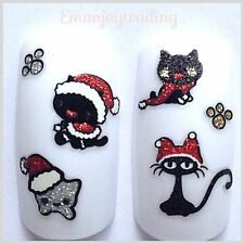 Nail Art 3D  Decals/Stickers Glittery Christmas Cats #167 BLE946D