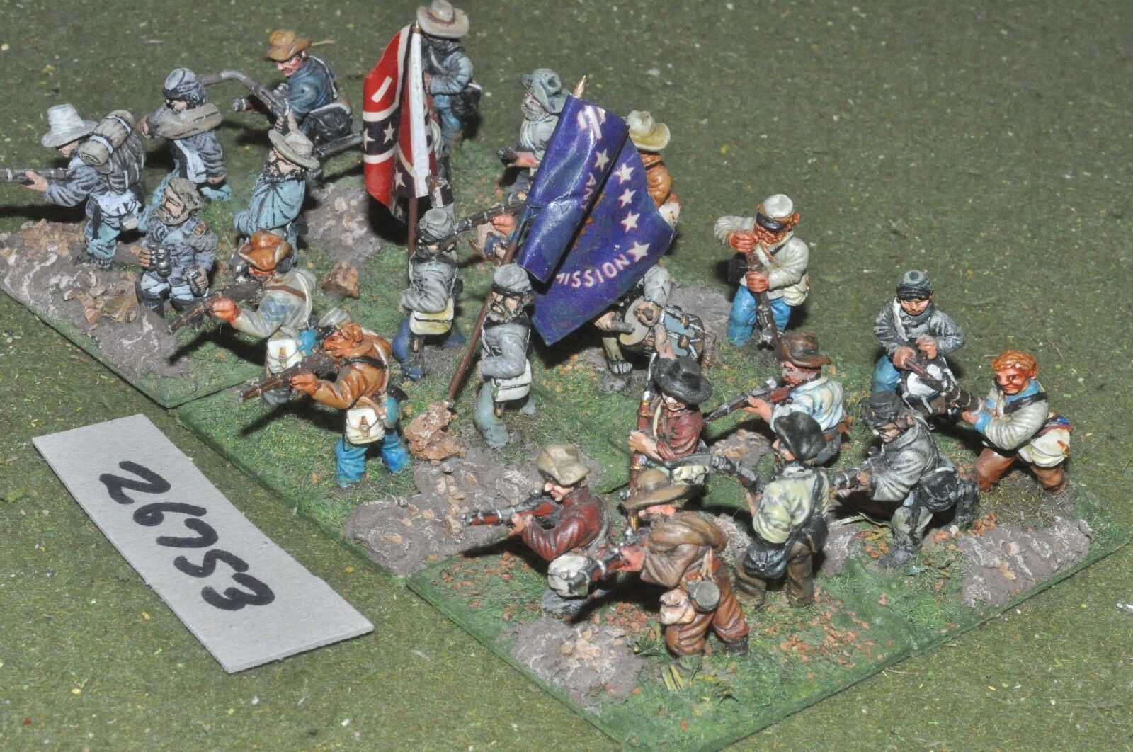 25mm ACW   confederate - regt. 24 figures - - - inf (26753) 039