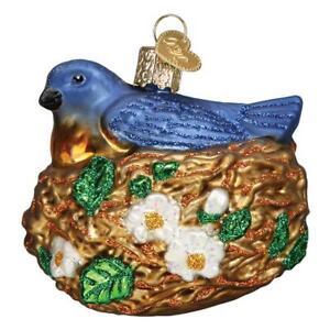 Old-World-Christmas-BIRD-IN-NEST-16130-N-Glass-Ornament-w-OWC-Box