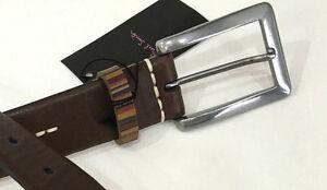Paul-Smith-Cinturon-28-034-Marron-Chocolate-VINTAGE-RAYAS-KEEPER-amp-Blanco-Puntadas