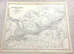 1861 Antik Map Of Kanada Die Kanadische Provinz Hand- Farbig Keith Johnston