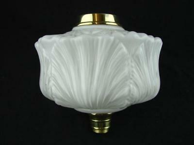 Useful Antique Overlaid Moulded White Milk Glass Oil Lamp Font Polished Brass Fittings Decorative Arts Lamps
