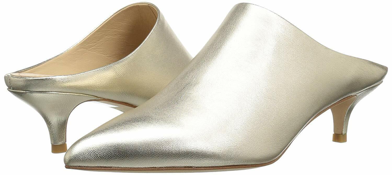 Pour La Victoire Korrine Champagne Gold Pointed Toe Low Kitten Heel Mule Pumps