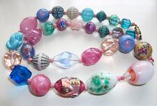 "20"" Vtg Czech Art Glass Bead Necklace Some Venetian Rainbow Foil Aventurine"