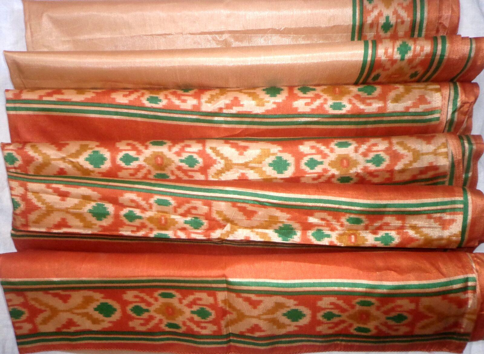 WEARABLE Vintage PAPER ART Silk BLEND CRISP Sari Saree PS7 Coffee Brown S352