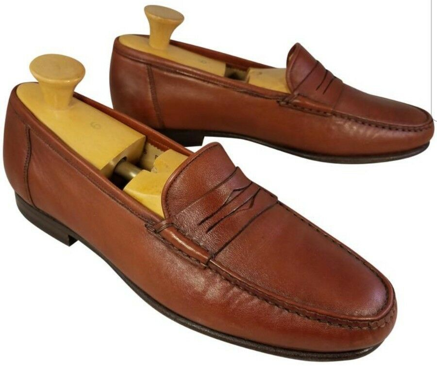 SANTONI MAN SHOES PENNY LOAFERS BROWN LEATHER SIZE 9.5 EE EXTRA WIDE