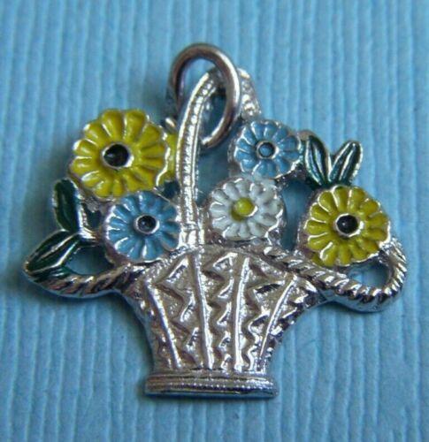 Vintage enamel flower basket sterling charm