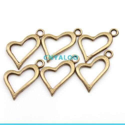 80x Antique Bronze Tone Heart Shape European Charms Pendants 140161