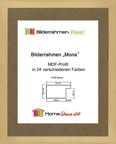 Mona 38 x 54 cm Bilderrahmen Homedeco 24 Holzwerkstoff Wahl Farbe Verglasung