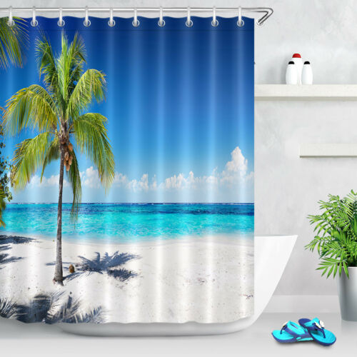 Tropical Palm Tree at Seaside Nautical Shower Curtain Waterproof Bath Mat Decor