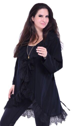 Boho XL Lagenlook Veste 1x en froissée noire Gypsy dentelle M L Xw7zSI7