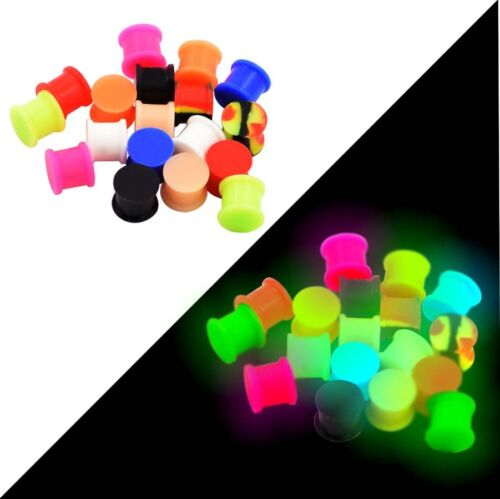 6 PAIRS Silicone Ear Plugs-Ear Gauges-Ear Tunnels-Glow in the Dark-USA Seller