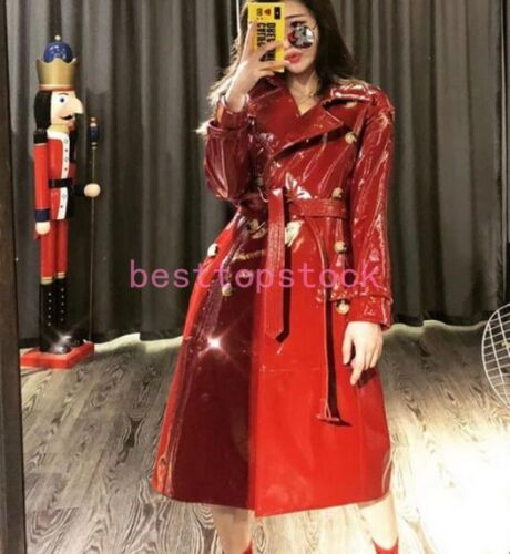 Black Patent Leather Real Leather Women Trench Coat Long Parka Fashion Overcoat