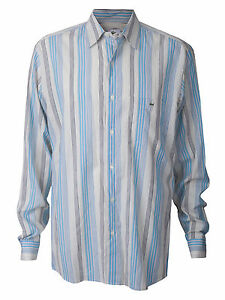846e2ea1 Details about Men's Lacoste Button Up Down Shirt Striped Blue White Gator  Croc Designer L/S 44