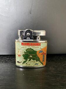 Vintage Alaska Land of the Midnight Sun Dog Sled enamel lighter