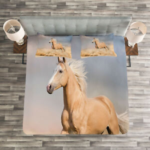Horse Quilted Bedspread Pillow Shams Set Palomino Sand Desert Print Ebay