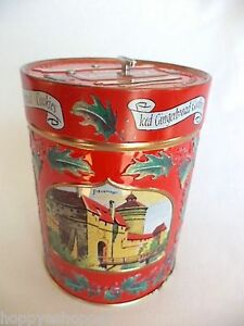 Lambertz-Music-Box-Tin-Can-Germany-1999-Deck-The-Halls-Christmas-Carol-5-5in-Red