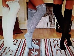 bb0b45be41e 3 Pair Ladies Over-The-Knee Socks With Lace Trim Cream Gray Black ...