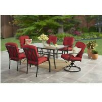 Outdoor Patio Dining Set 7 Piece Red Swivel Chair Table Lawn Garden Furniture