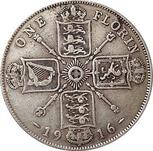 1911-To-1919-George-V-Silver-Florin-Choix-de-l-039-annee-date