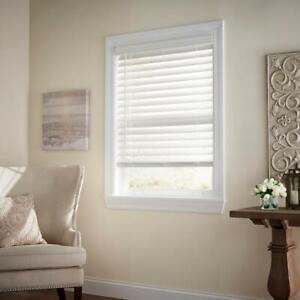 CUSTOM CUT Home Decorators White Cordless 2-1/2 in. Premium Faux Wood Blind