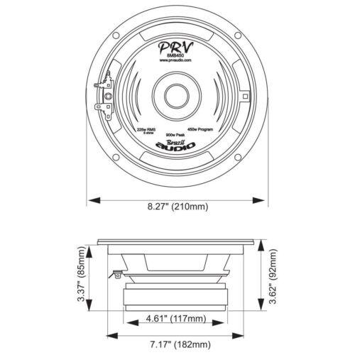 """PRV Audio 8MB450-8/"""" Midbass Woofer 8 ohms 450 Watts Speaker"""