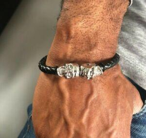 Mens-Leather-Twin-Skull-Bracelet-Wristband-Punk-Goth-Gift-Bracelets-Gold-Black