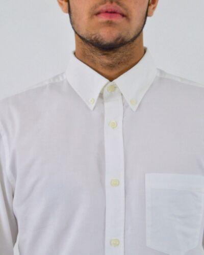 Homme à Manches Longues Oxford shirt col boutonné Casual Slim Fit Chemises Blanches