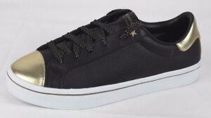 Details about Skecher Street Los Angeles black gold leather women's shoes lace size 11 M
