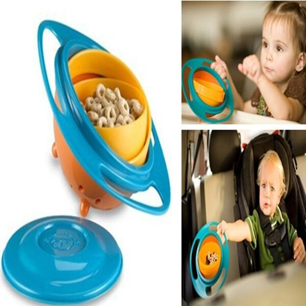 Hot Baby Gyro Bowl Children Kids Bowl 360 Rotate Spill-Proof Bowl Dishes+Lid New