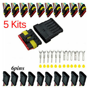 5Pcs-Car-Waterproof-Electrical-Connector-Terminal-6Pin-Way-Wire-Blade-T-FJPPTH