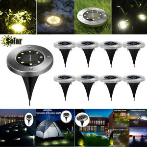Solare-Energia-Ground-Luce-del-prato-Outdoor-8-LED-Street-Path-Garden-Lampada