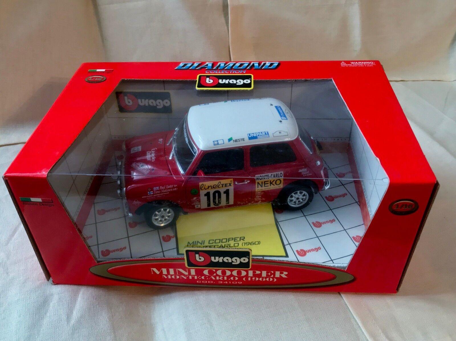 BURAGO 1960 Mini Cooper Rallye Monte Carlo L.E. Diecast 1 16 Original Boxed