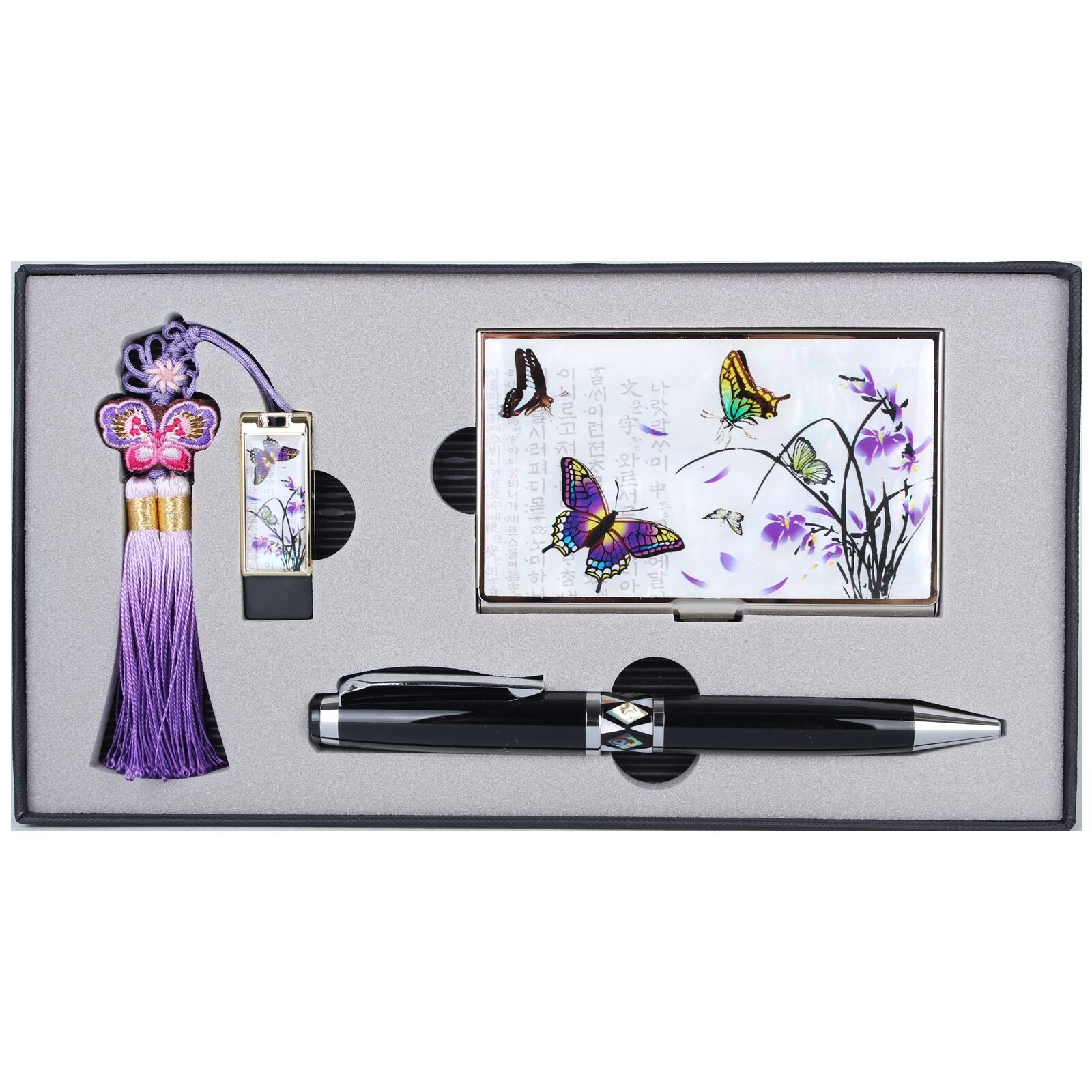Business Card Case +8GUSB+ Ball Pen Mother Of Pearl Gift Set Made Korea HUS8003