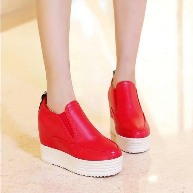 Sz 35-43 Womens Wedge High Heels Platform Creepers Casual Sneakers Sneakers Casual Slip On V066 7dad2a