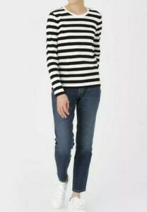 BNWT MUJI women's organic cotton round neck striped long sleeves tee shirt szS