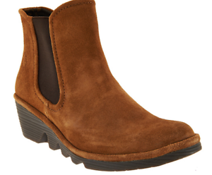 FLY London Suede Chelsea Boots - Phil Women's Booties Camel Brown EU39 US 8-8.5
